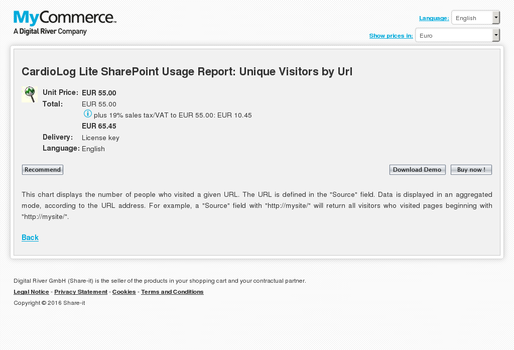 Cardiolog Lite Sharepoint Usage Report Unique Visitors Url Features