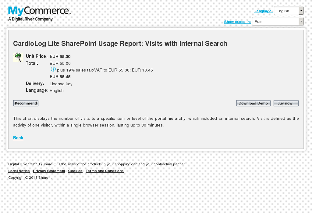 Cardiolog Lite Sharepoint Usage Report Visits With Internal Search Features
