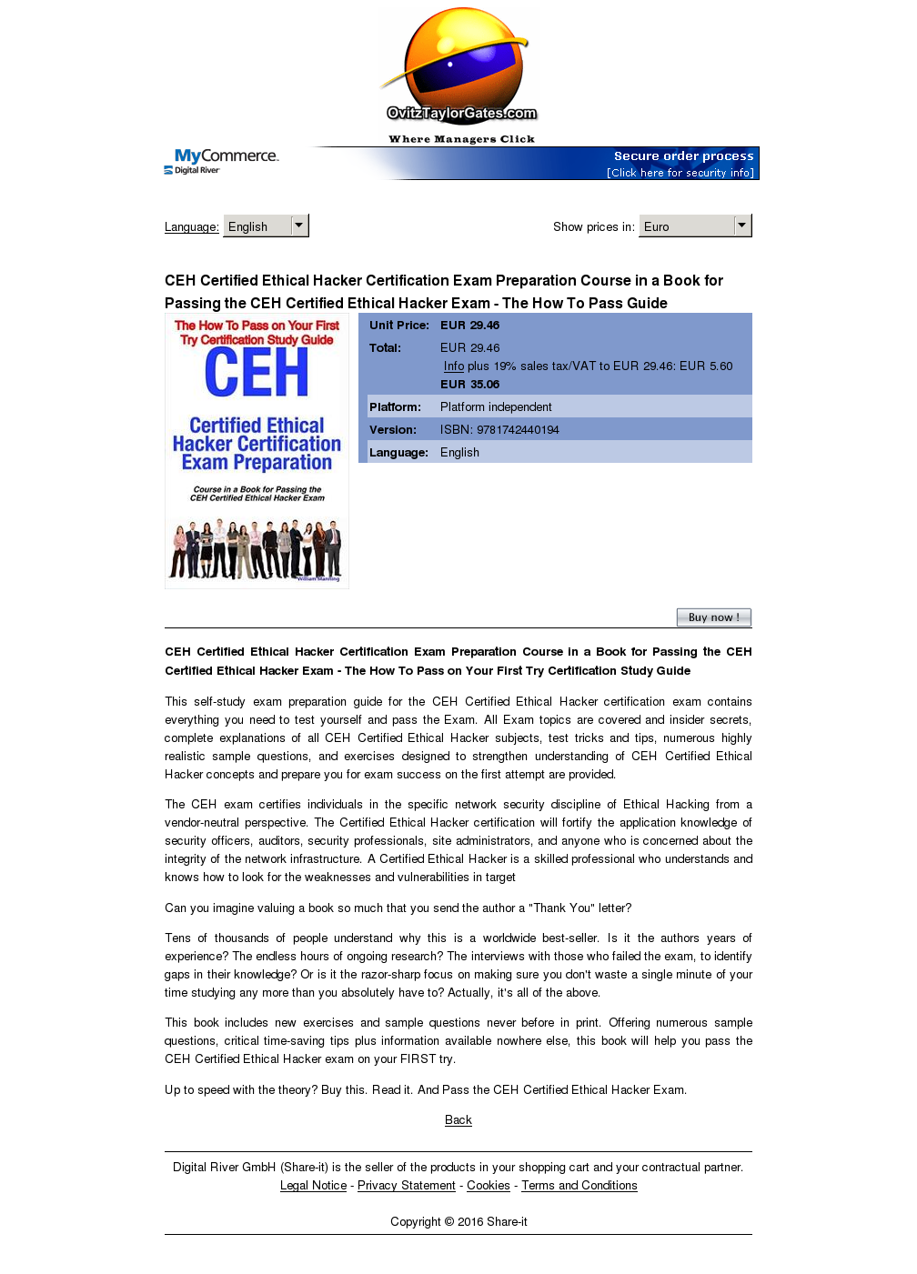 Ceh Certified Ethical Hacker Certification Exam Preparation Course Book Passing How Pass Guide