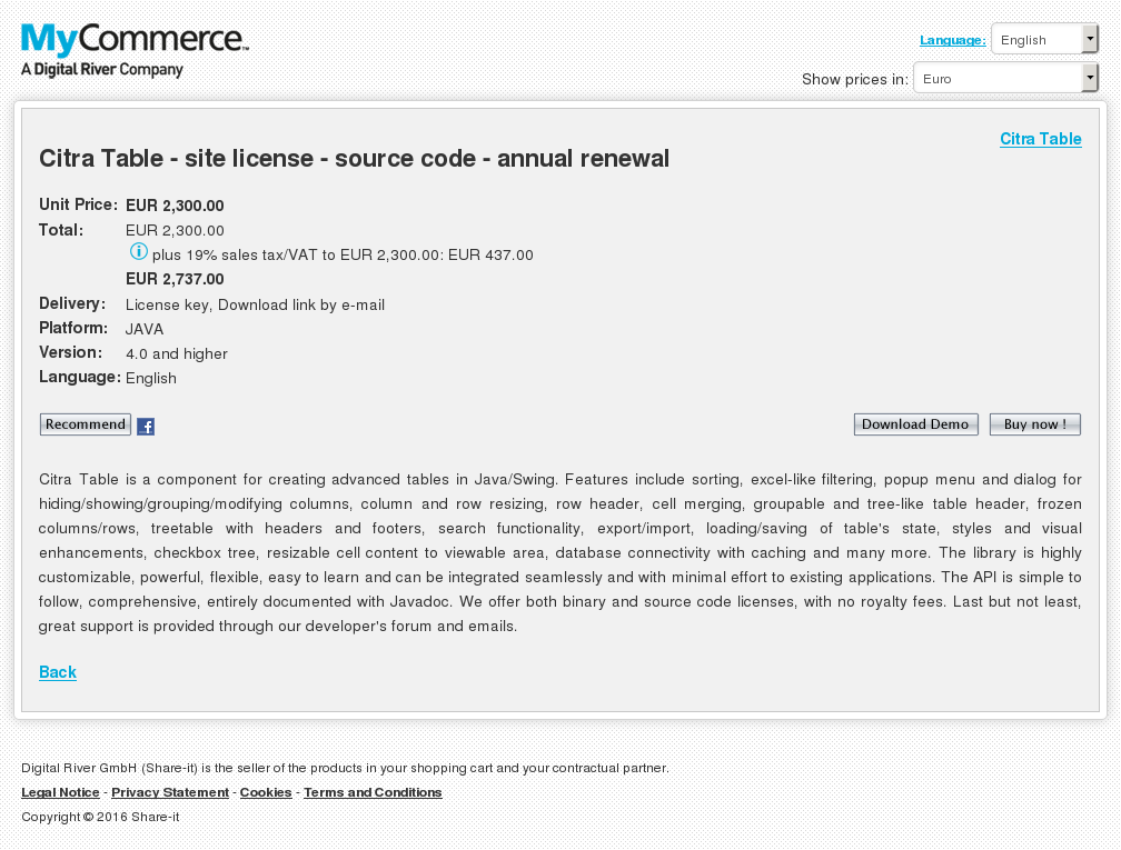 Citra Table Site License Source Code Annual Renewal