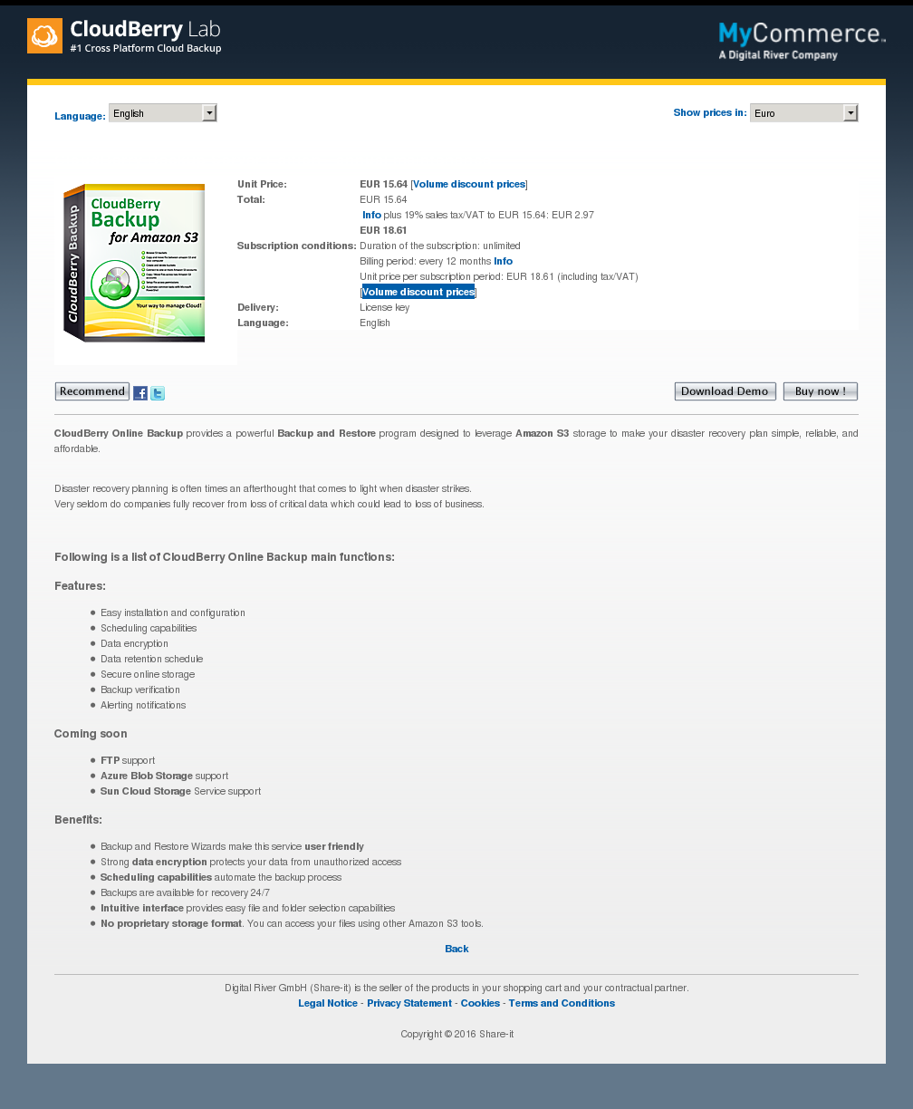 Cloudberry Backup Server Edition Annual Maintenance Download