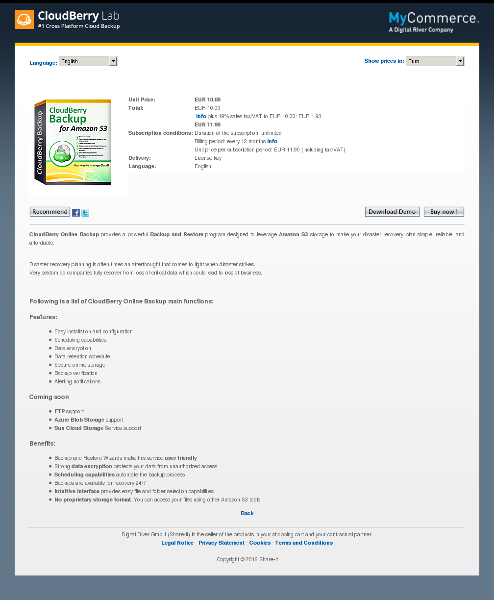 Cloudberry Drive Server Edition Annual Maintenance Free