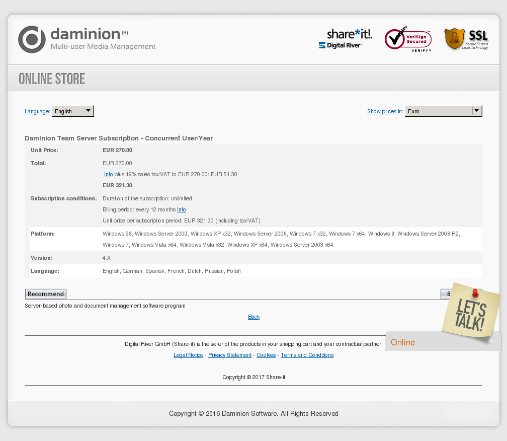 Copy Daminion Team Server Subscription Concurrent User Year Download