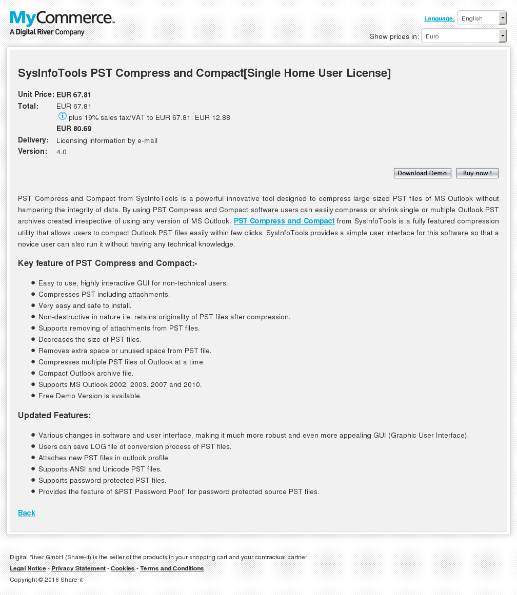 Copy Sysinfotools Pst Compress Compact Single Home User License Howto