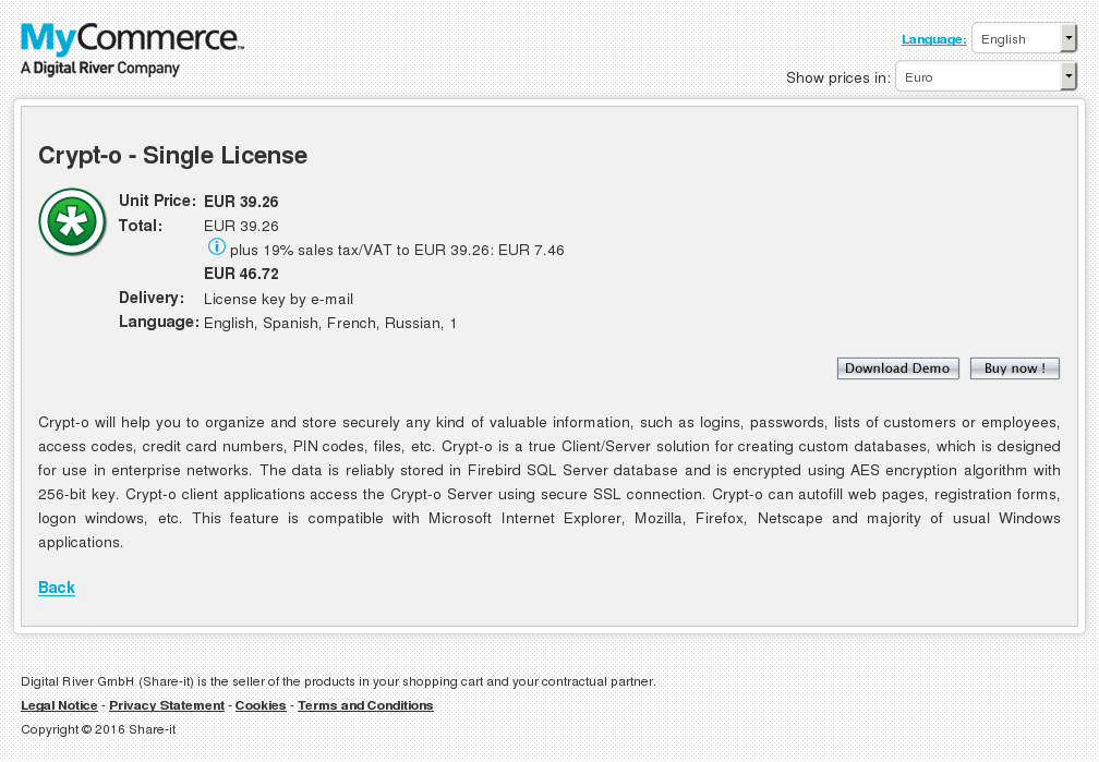 Crypt Single License Download