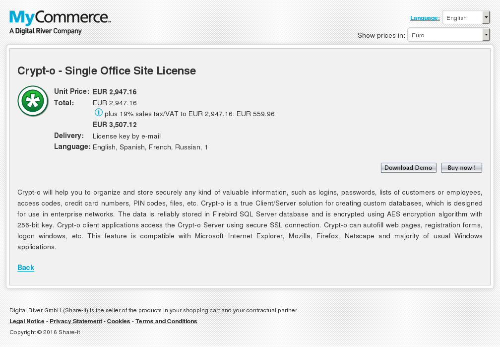 Crypt Single Office Site License Howto
