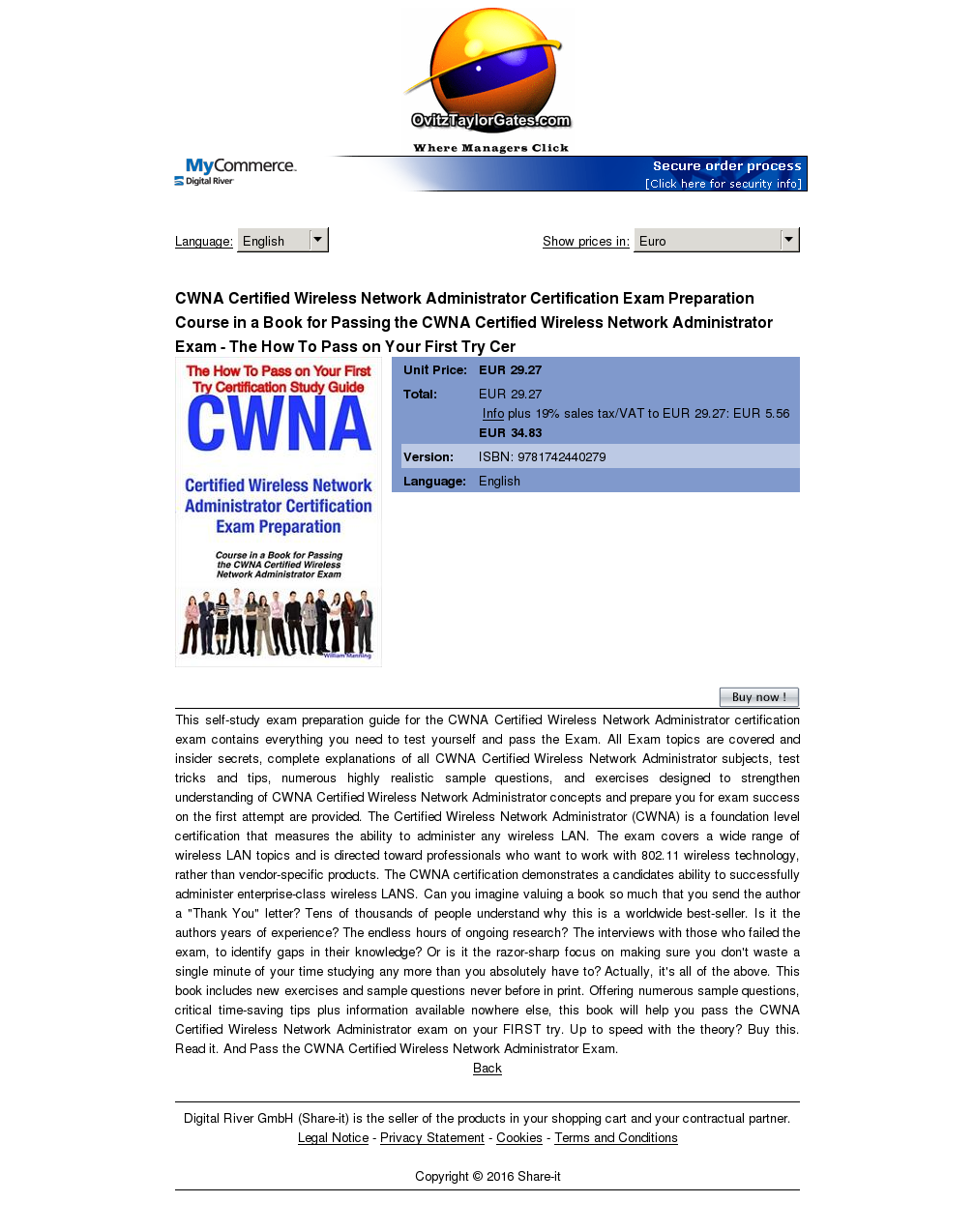 Cwna Certified Wireless Network Administrator Certification Exam Preparation Course Book Passing How Pass Your First Try Cer Free