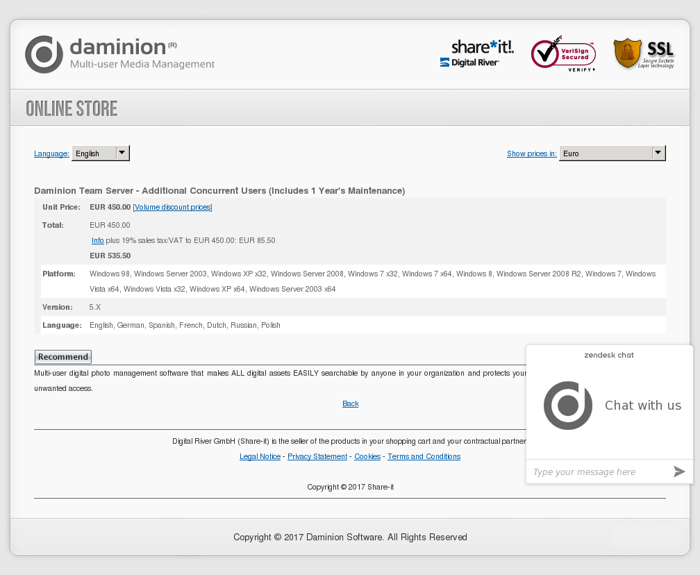 Daminion Team Server Additional Concurrent Users Includes Year Maintenance Alternative
