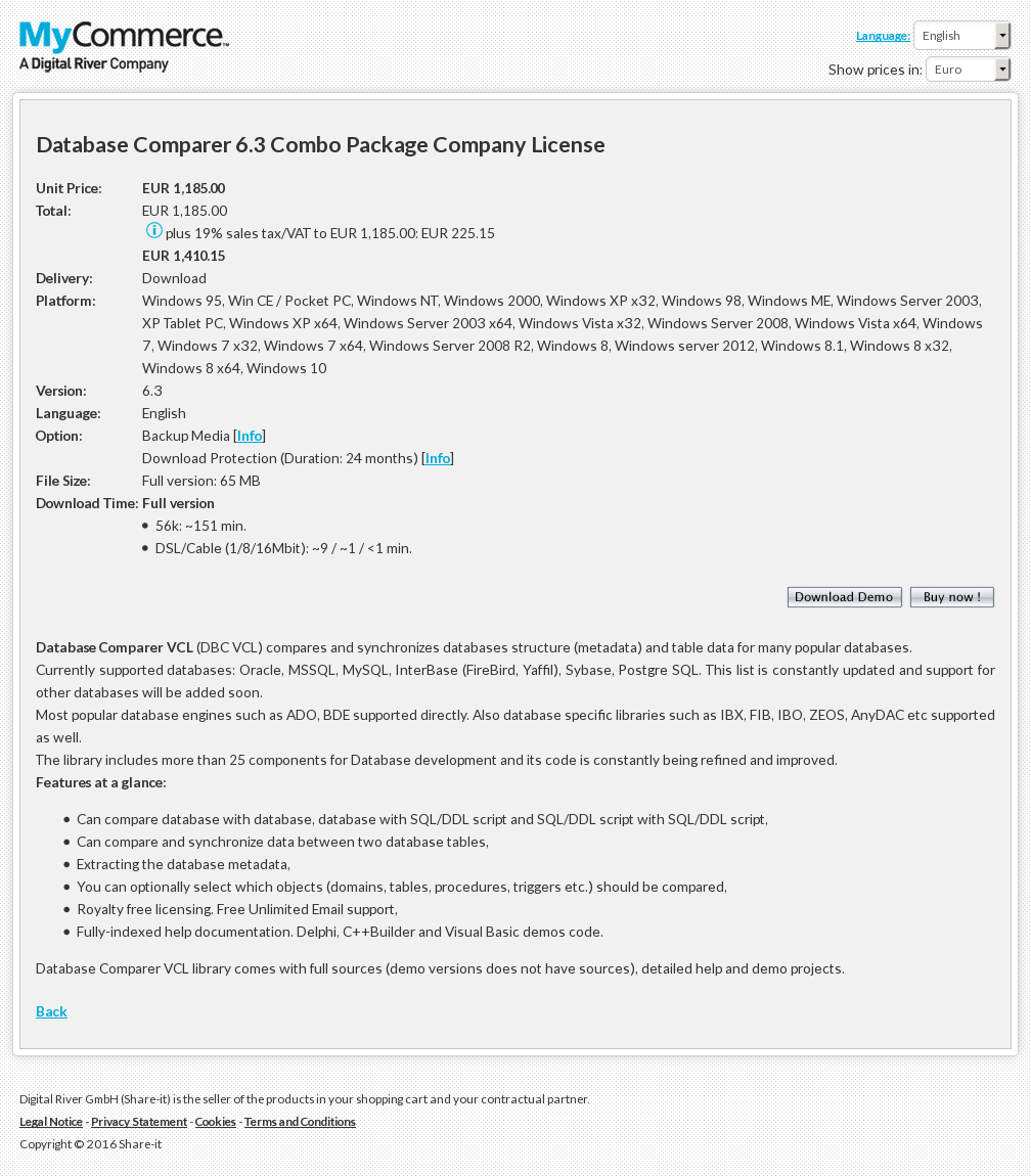 Database Comparer Combo Package Company License
