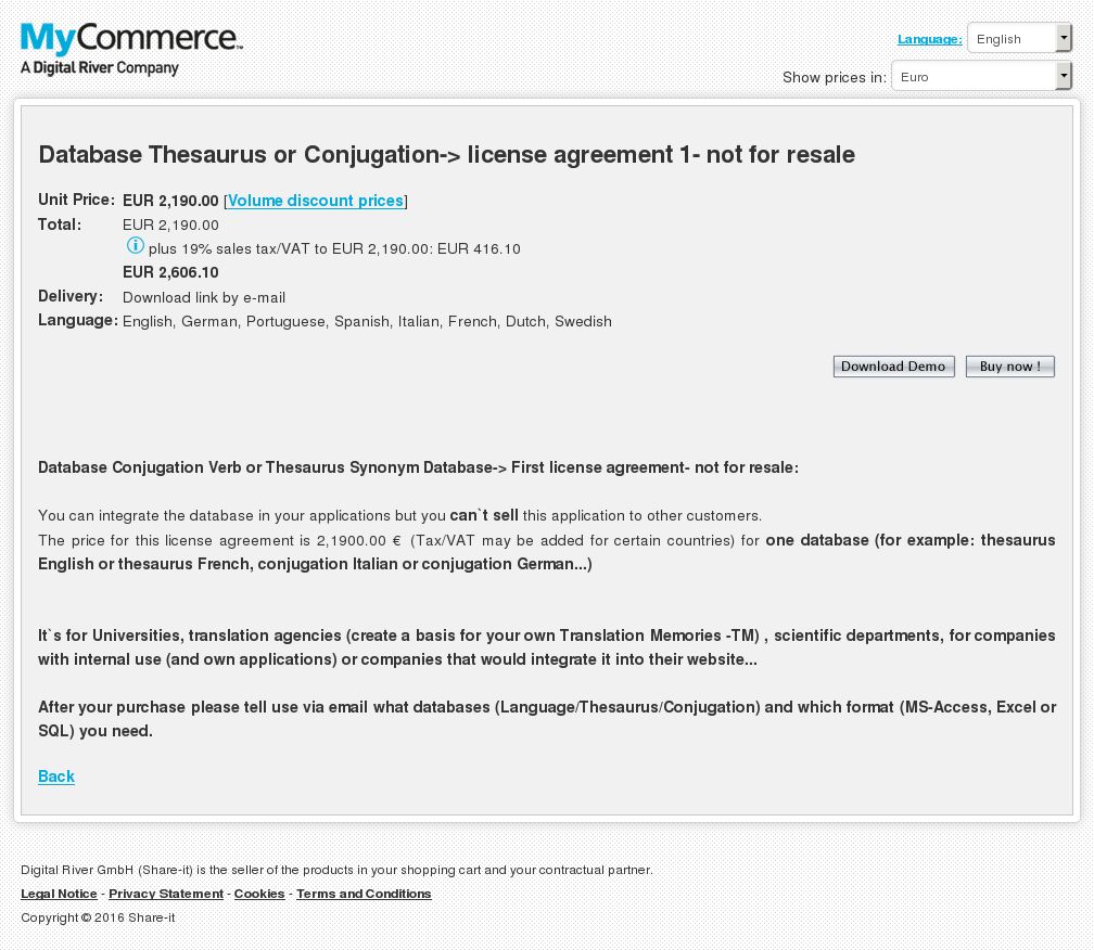 Database Thesaurus Conjugation License Agreement Not Resale Howto