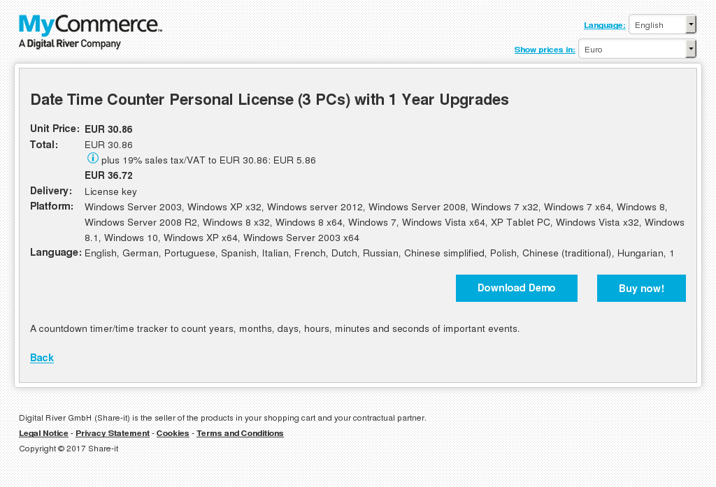 Date Time Counter Personal License Pcs With Year Upgrades Features