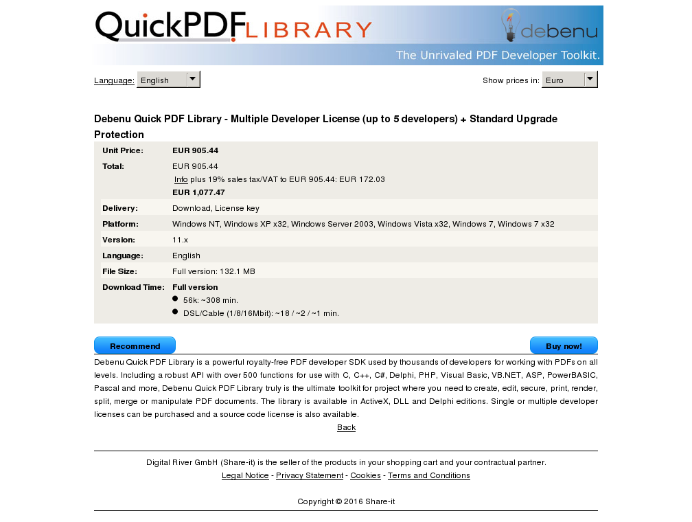 Debenu Quick Pdf Library Multiple Developer License Developers Standard Upgrade Protection