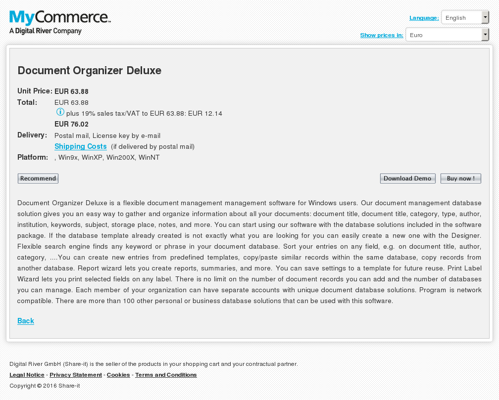 Document Organizer Deluxe Features