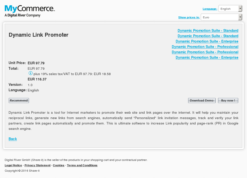 Dynamic Link Promoter Features