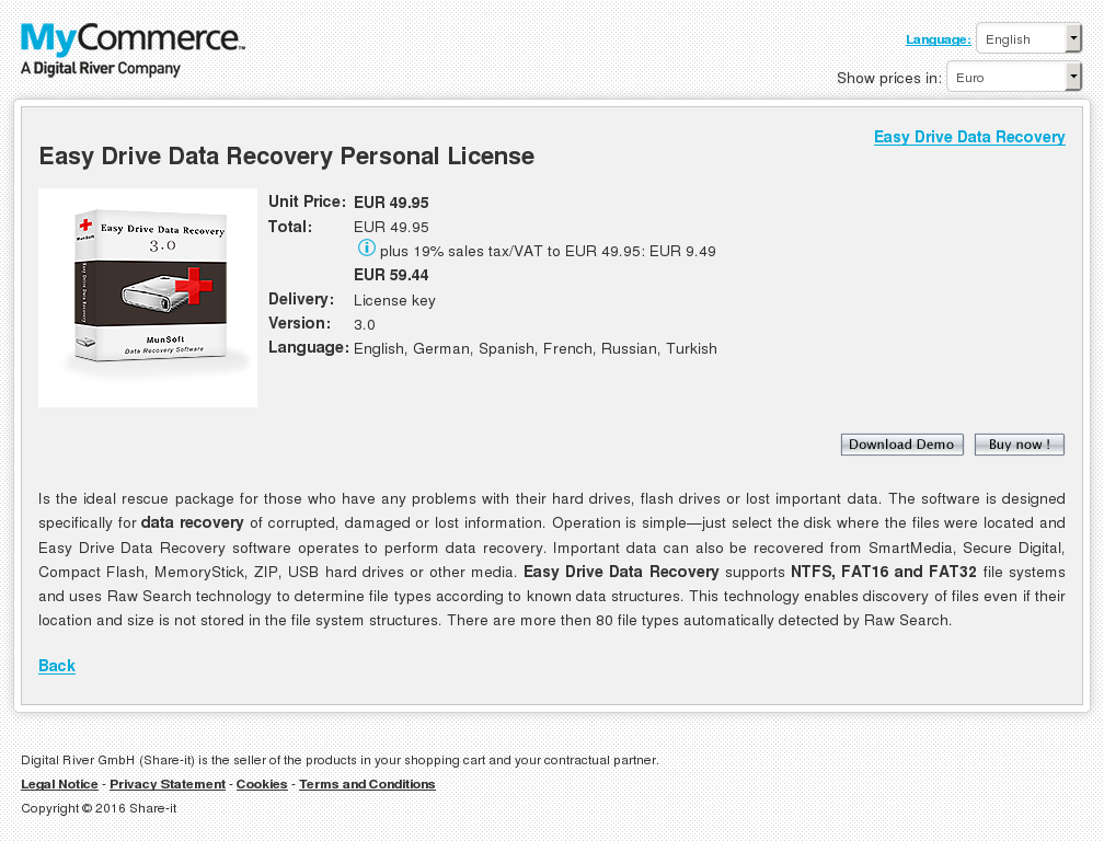Easy Drive Data Recovery Personal License Key Information
