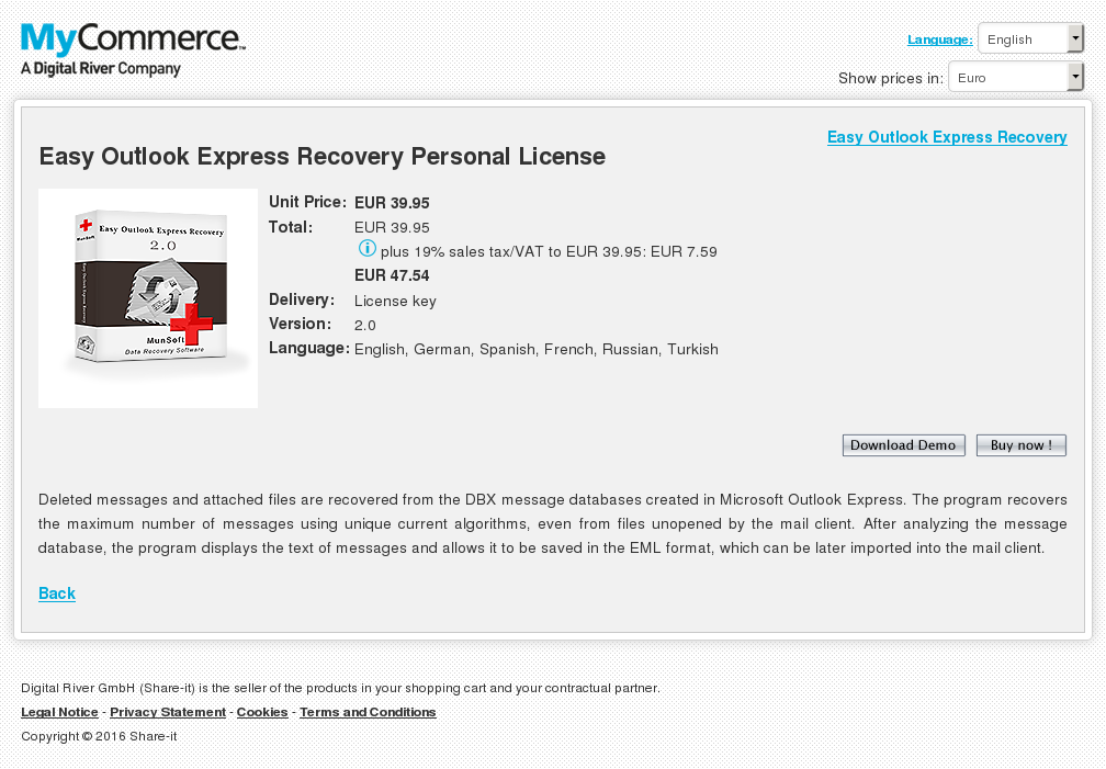 Easy Outlook Express Recovery Personal License Review