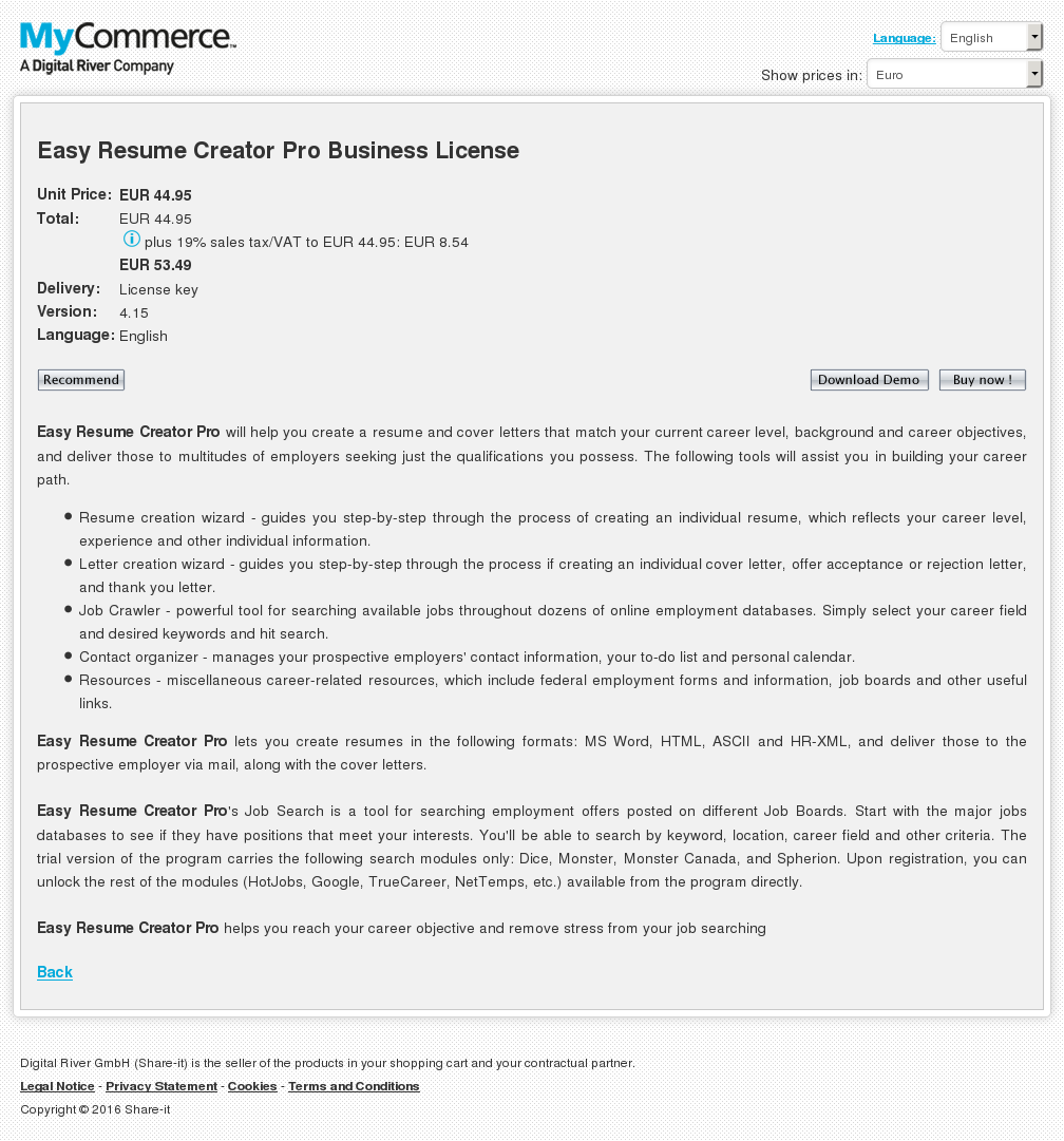 Easy Resume Creator Pro Business License Download