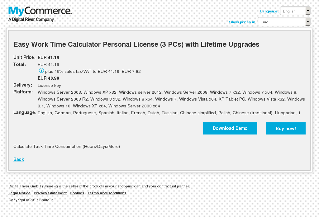 Easy Work Time Calculator Personal License Pcs With Lifetime Upgrades Features