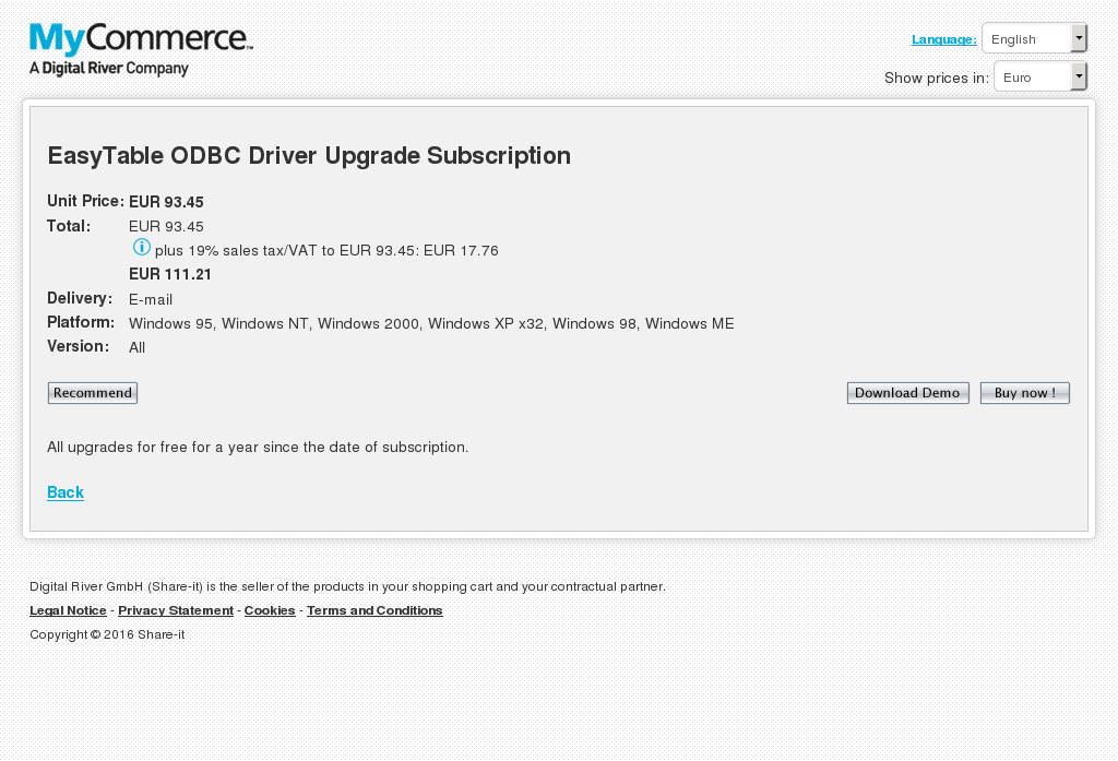 Easytable Odbc Driver Upgrade Subscription