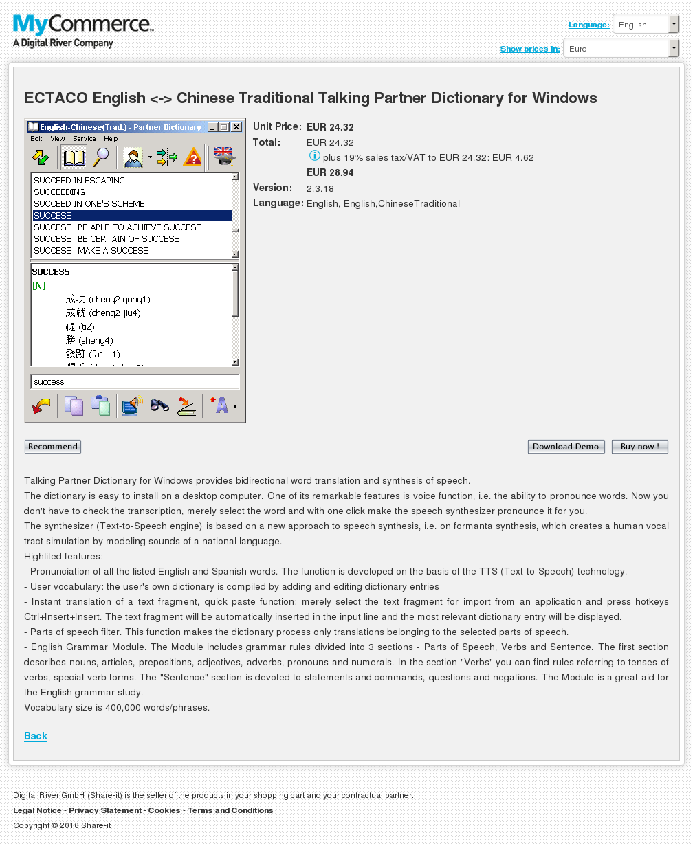Ectaco English Chinese Traditional Talking Partner Dictionary Windows Free