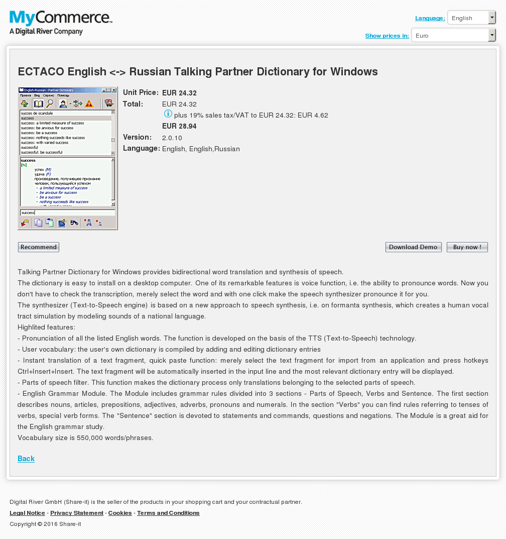 Ectaco English Russian Talking Partner Dictionary Windows Review