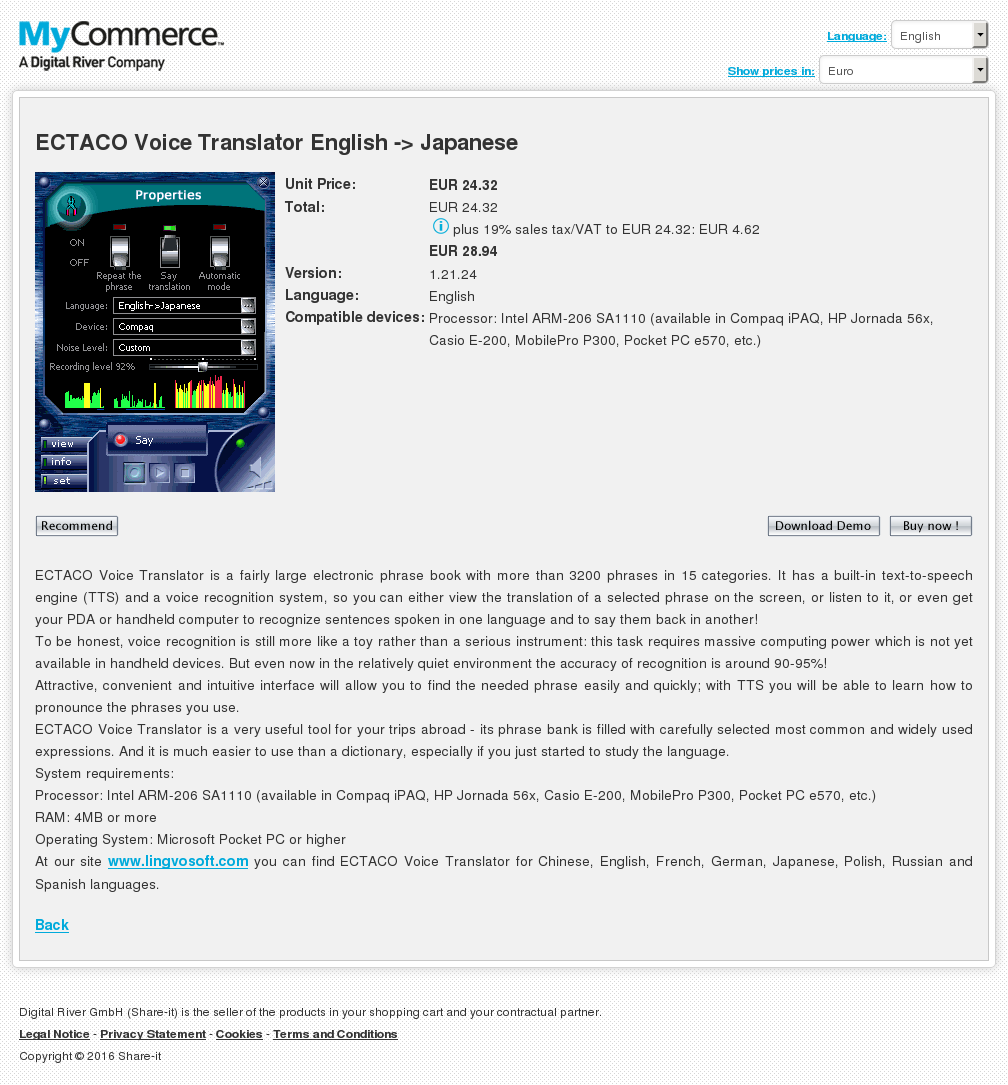 Ectaco Voice Translator English Japanese Key Information