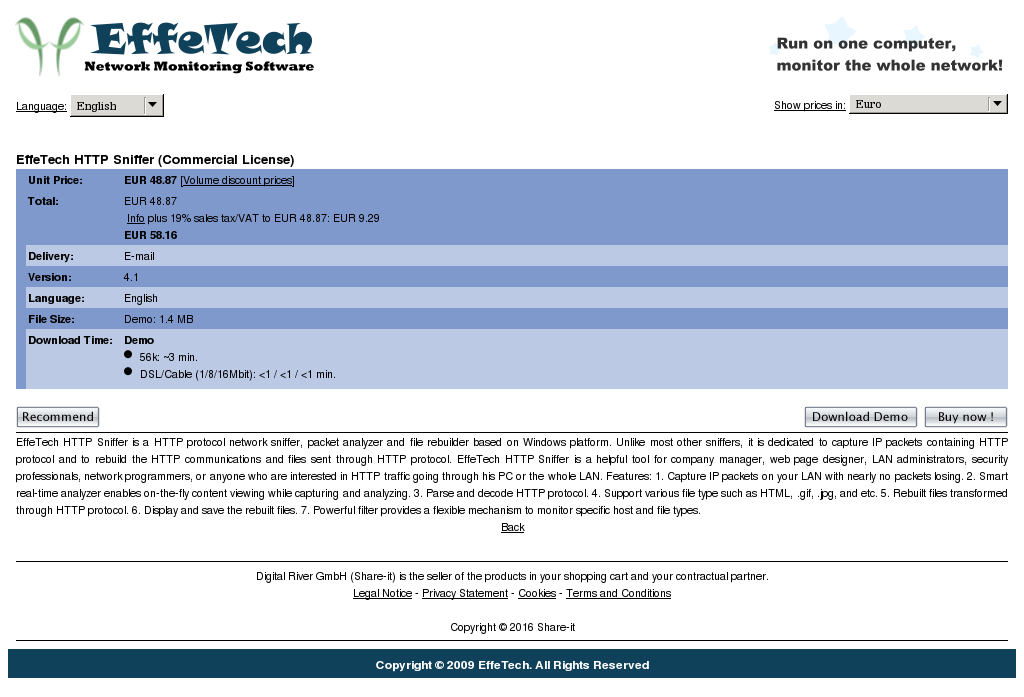 Effetech Http Sniffer Site License Features