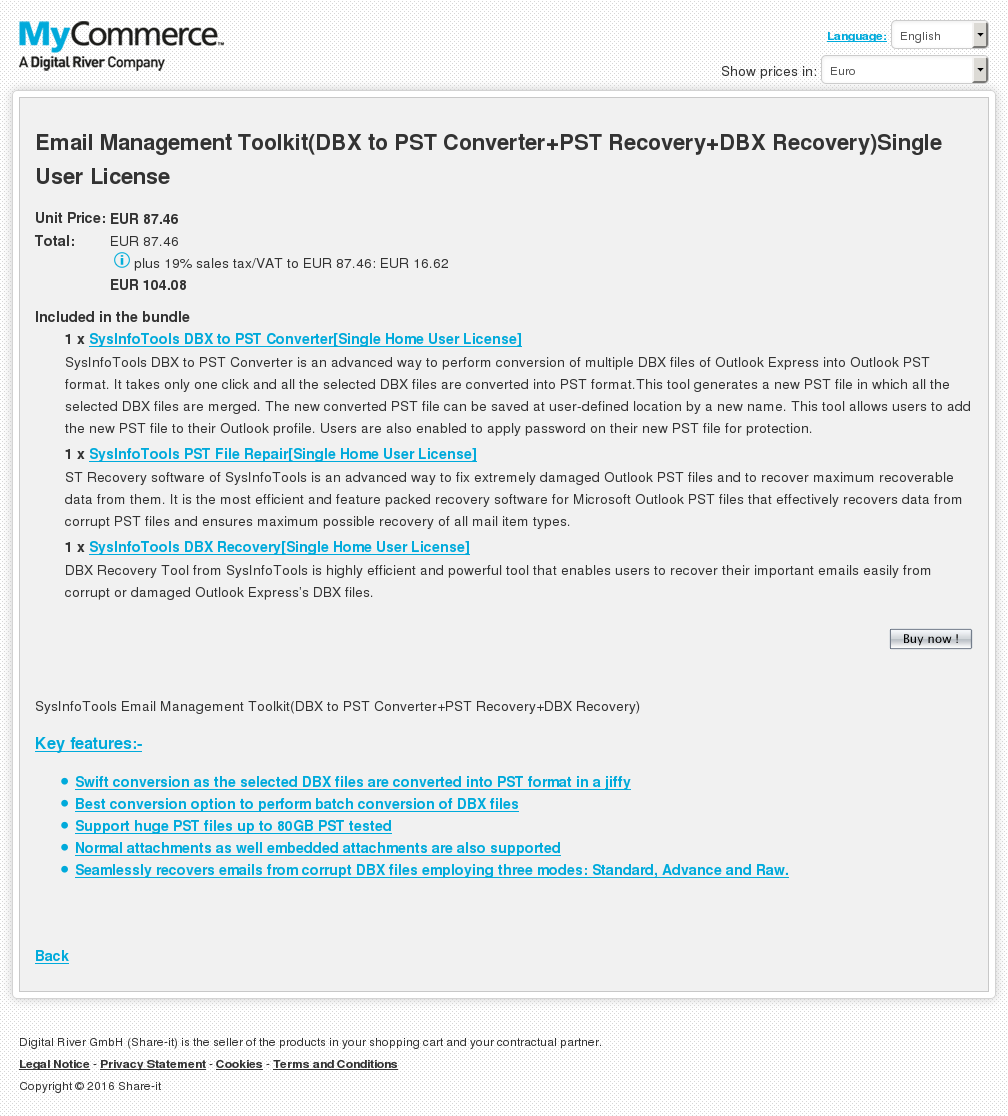 Email Management Toolkit Dbx Pst Converter Recovery Single User License Alternative