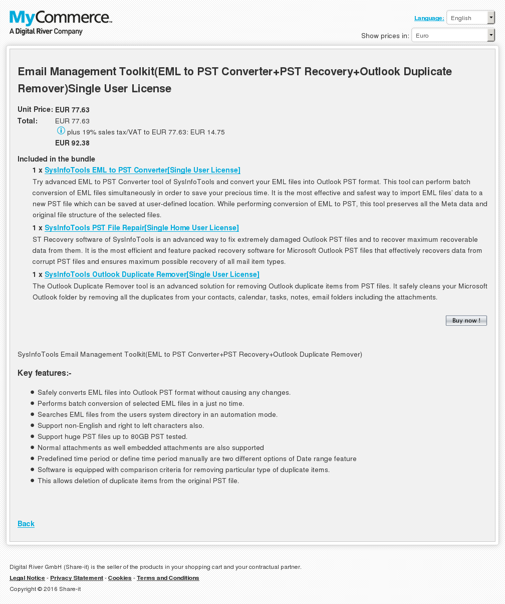 Email Management Toolkit Eml Pst Converter Recovery Outlook Duplicate Remover Single User License Free