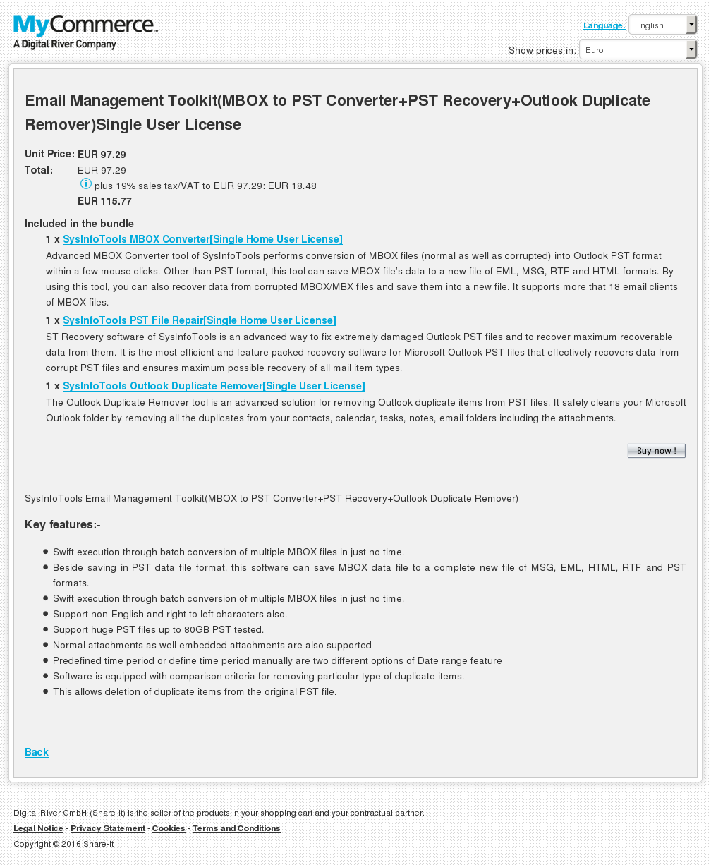 Email Management Toolkit Mbox Pst Converter Recovery Outlook Duplicate Remover Single User License Features