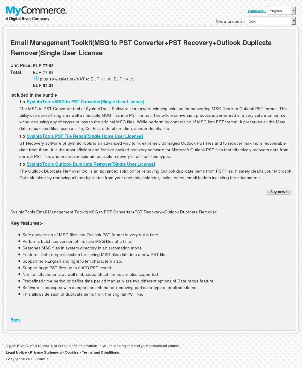 Email Management Toolkit Msg Pst Converter Recovery Outlook Duplicate Remover Single User License Howto