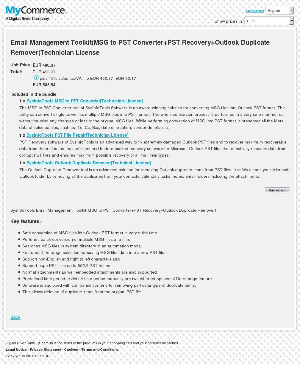 Email Management Toolkit Msg Pst Converter Recovery Outlook Duplicate Remover Technician License Features