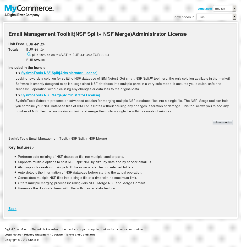 Email Management Toolkit Nsf Split Merge Administrator License Features