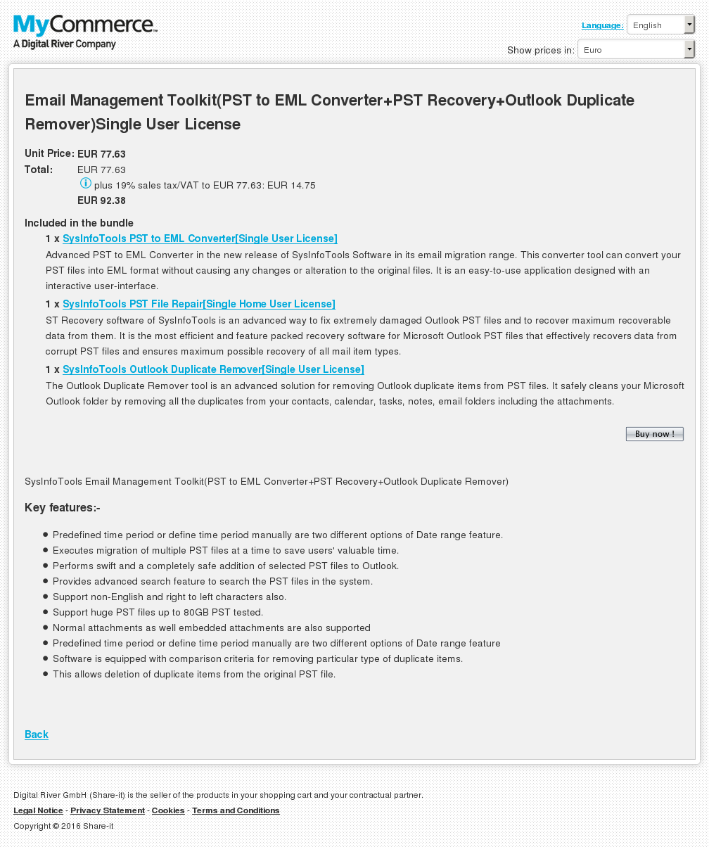 Email Management Toolkit Pst Eml Converter Recovery Outlook Duplicate Remover Single User License Download