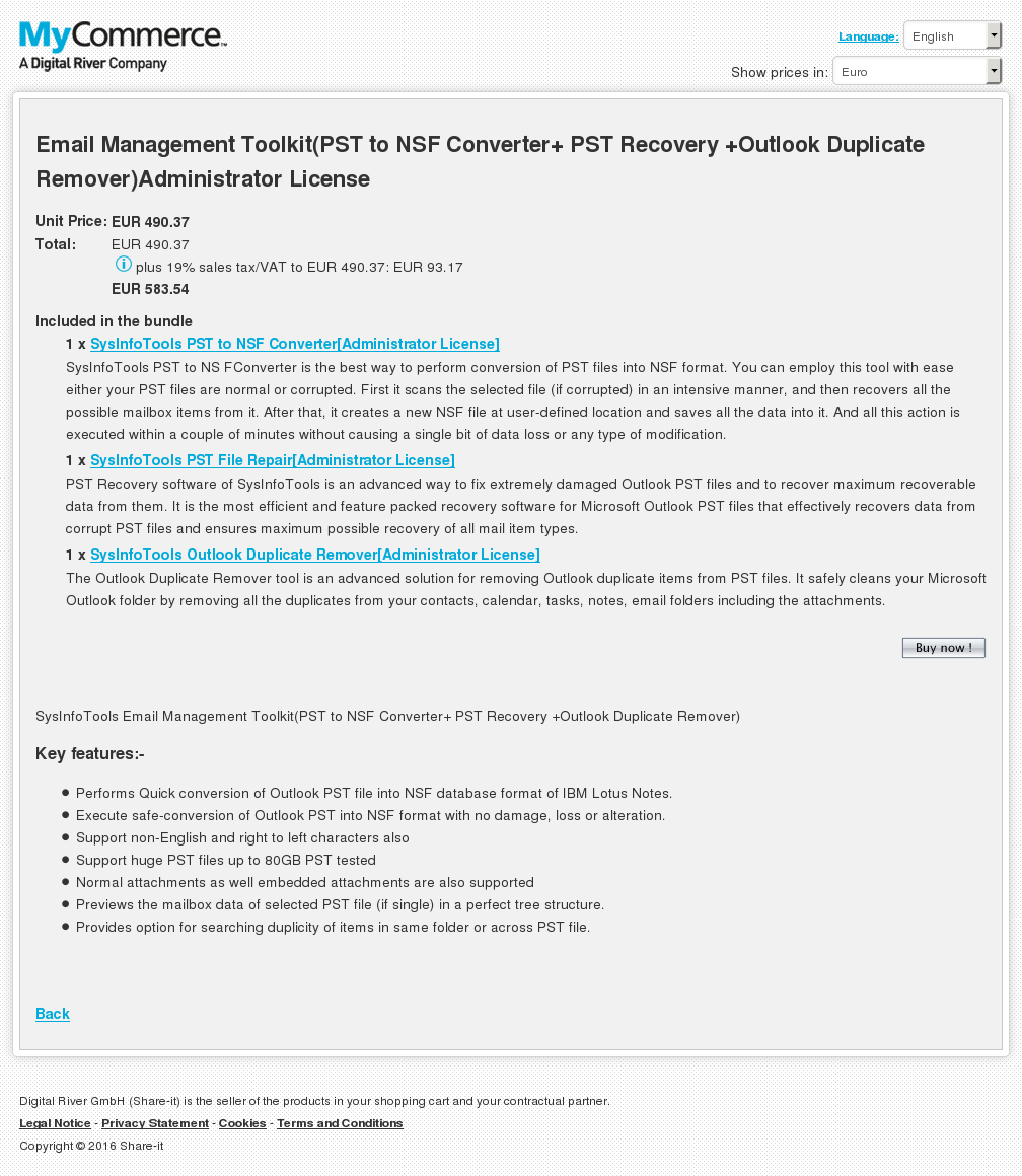 Email Management Toolkit Pst Nsf Converter Recovery Outlook Duplicate Remover Administrator License Features