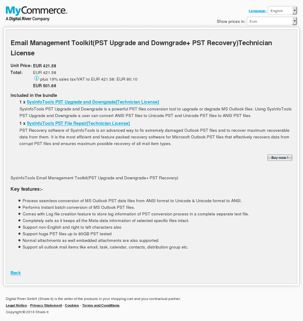 Email Management Toolkit Pst Upgrade Downgrade Recovery Technician License Key Information