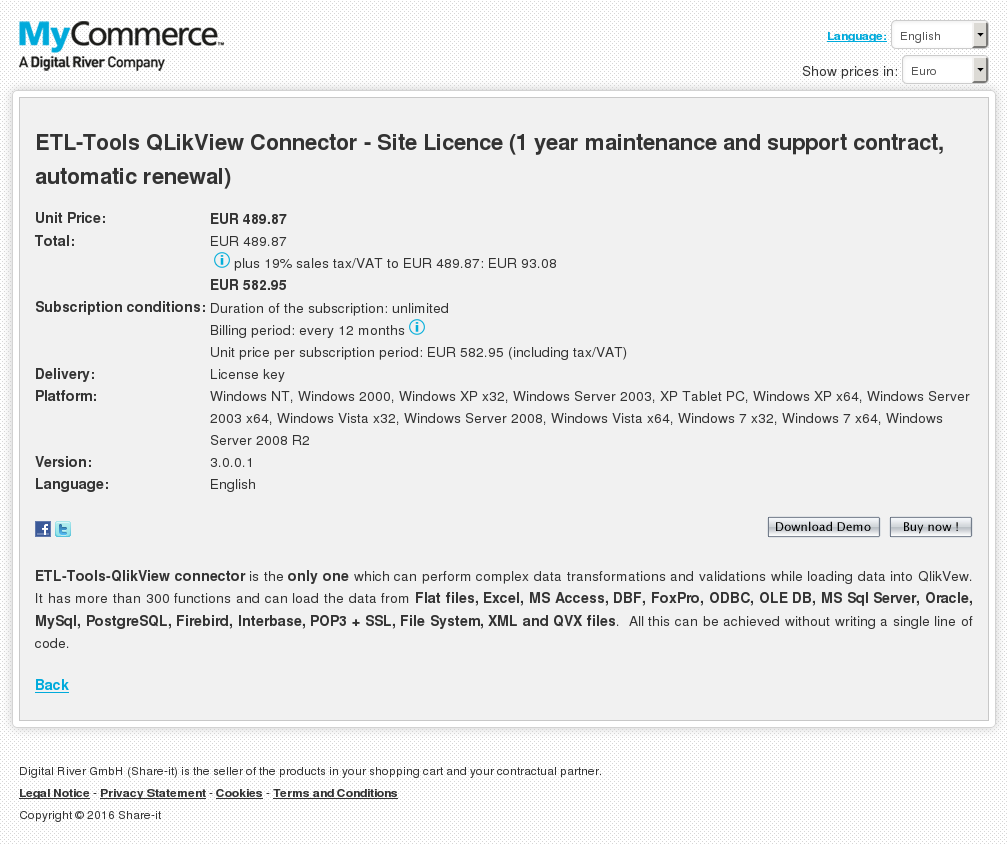Etl Tools Qlikview Connector Site Licence Year Maintenance