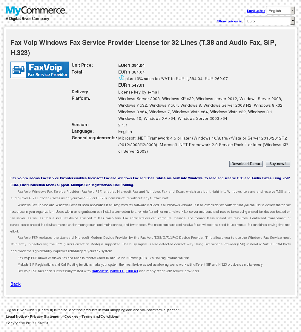 Fax Voip Windows Service Provider License Lines Audio Sip Features