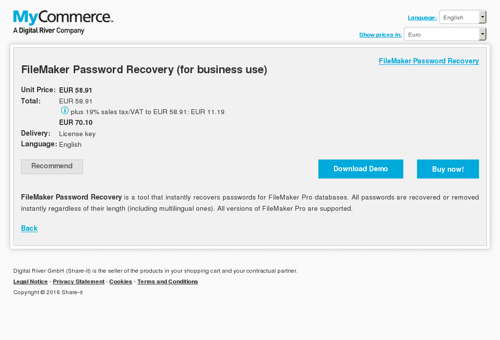 Filemaker Password Recovery Business Use Features