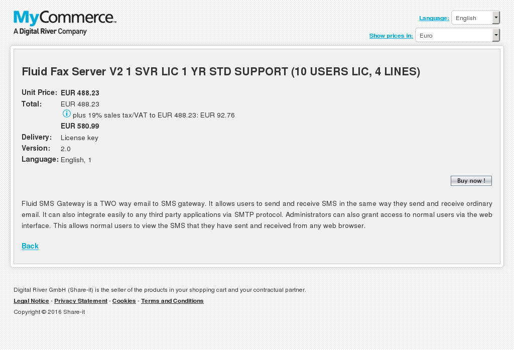 Fluid Fax Server Svr Lic Std Support Users Lines Features