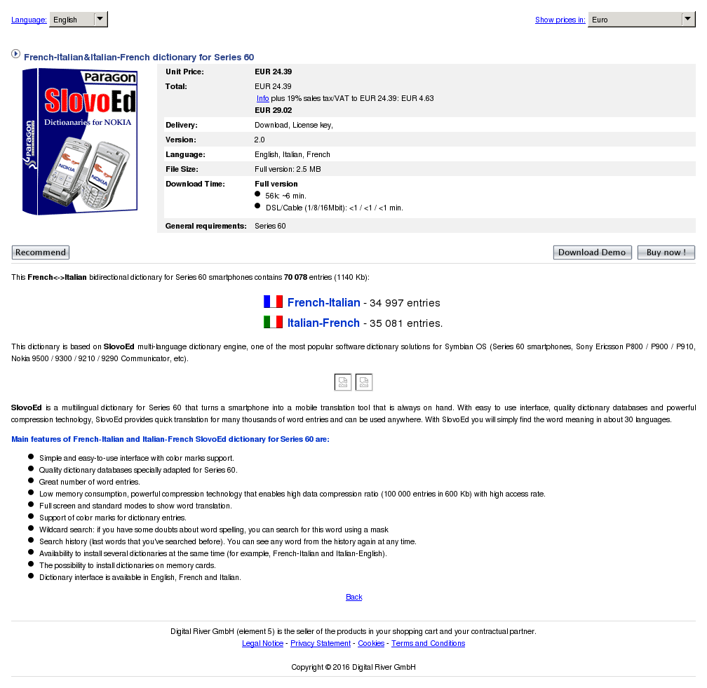 French Italian Dictionary Series Review