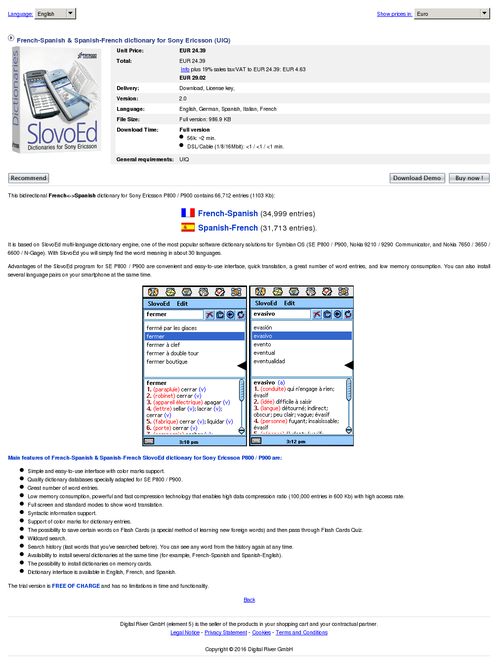 French Spanish Dictionary Sony Ericsson Uiq Review