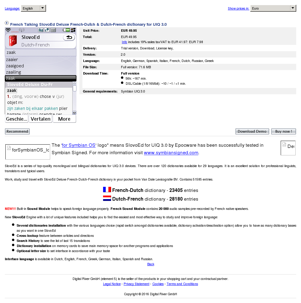 French Talking Slovoed Deluxe Dutch Dictionary Uiq Features