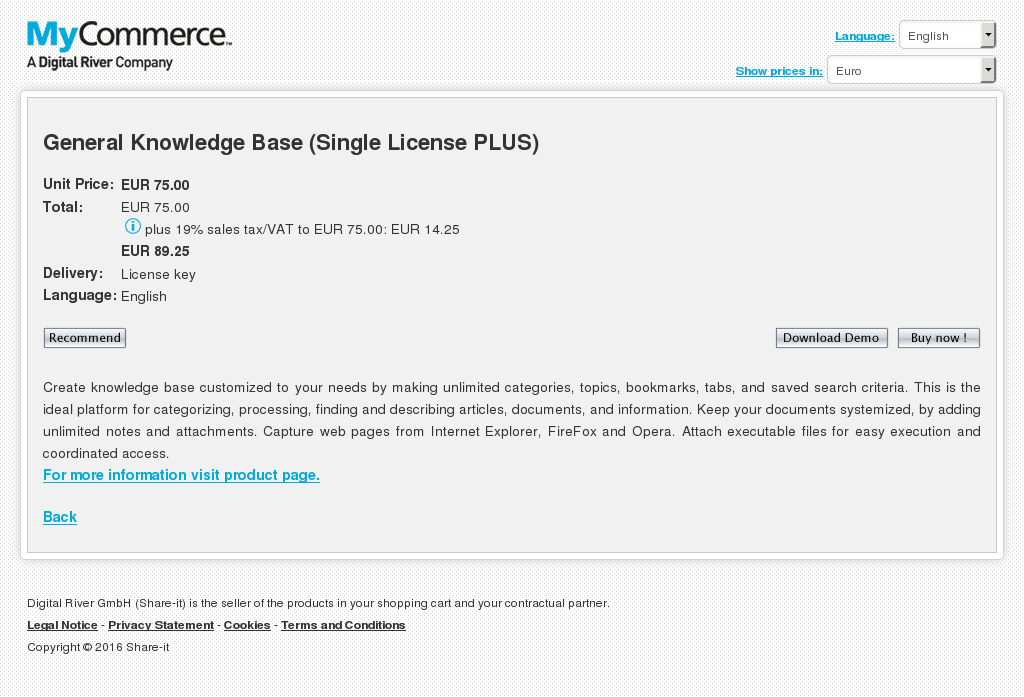 General Knowledge Base Single License Plus Free