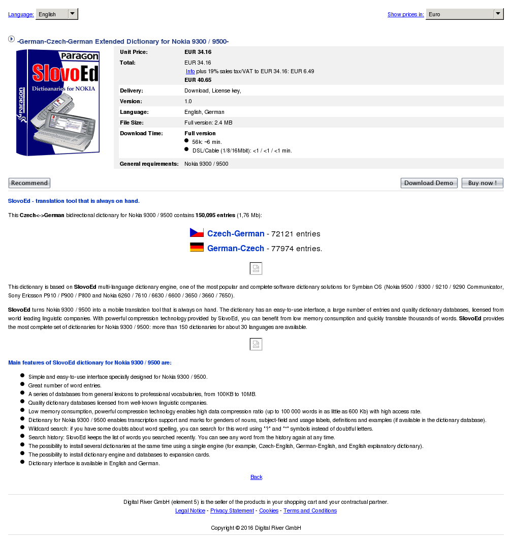 German Czech Extended Dictionary Nokia Review