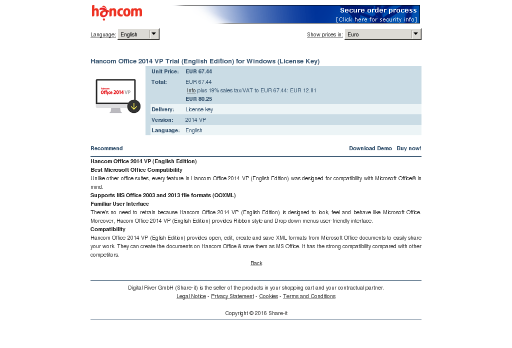 Hancom Office Trial English Edition Windows License Key Information