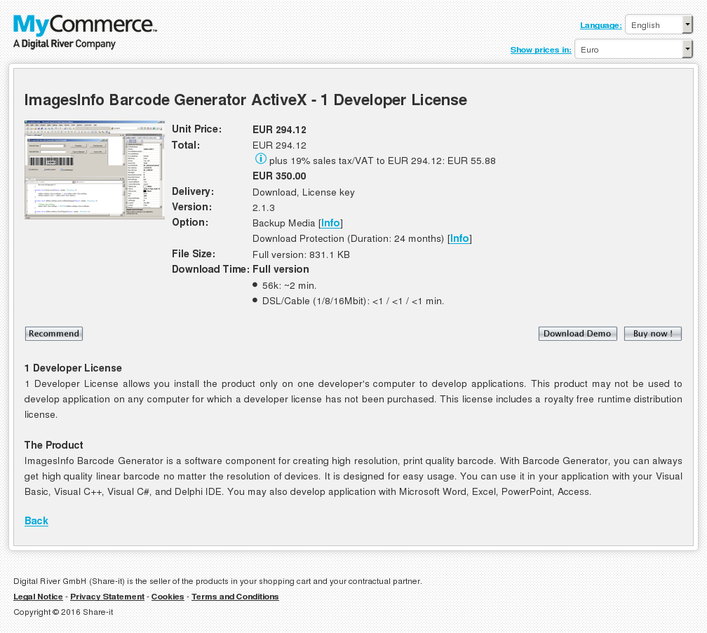 Imagesinfo Barcode Generator Activex Developer License