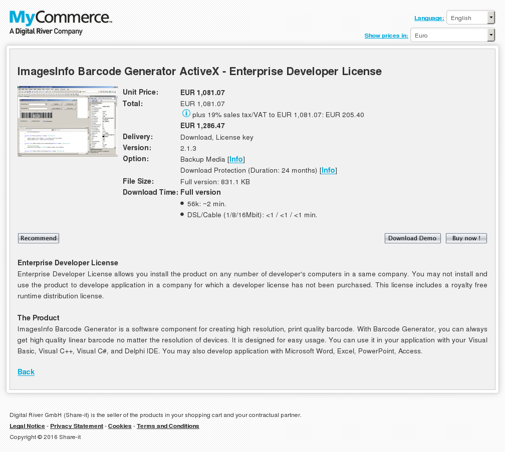 Imagesinfo Barcode Generator Activex Enterprise Developer License