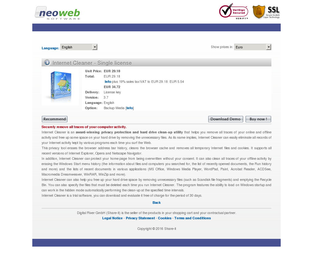 Internet Cleaner Single License Free