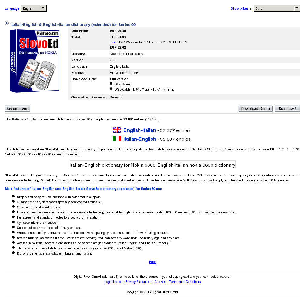 Italian English Dictionary Extended Series Key Information
